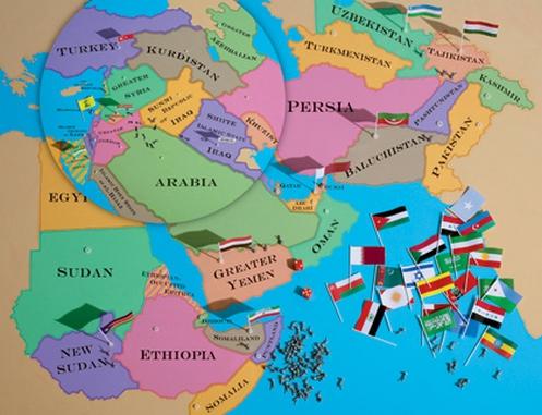 mapa de la balcanizacion de medio oriente