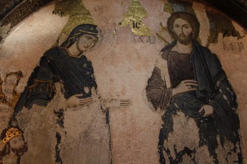 mosaico de maria mediando con jesus fondo