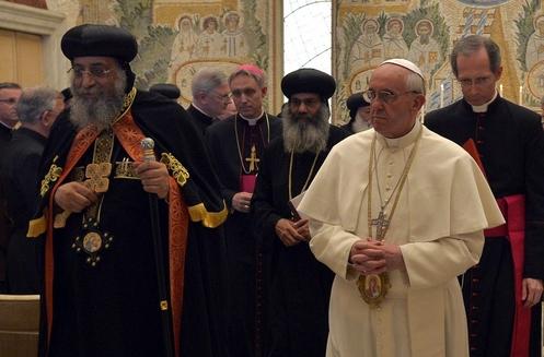 papa copto tawadros ii y papa francisco
