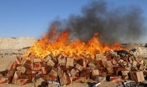 quema de productos en mal estado