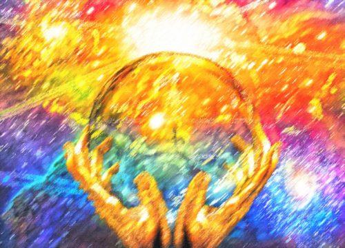 un mundo y manos new age
