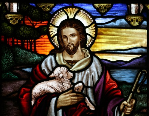 vitral de jesus supremo pastor fondo