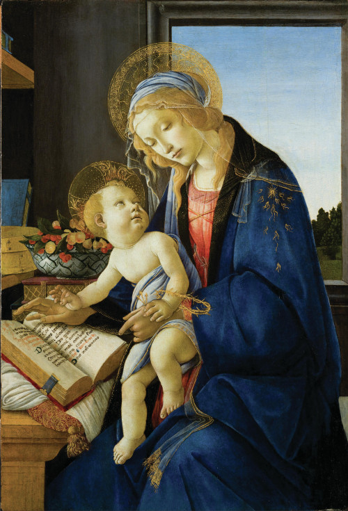 Sandro Botticelli's Madonna and Child, painted in 1480, shows a reflective Mary in deep blue