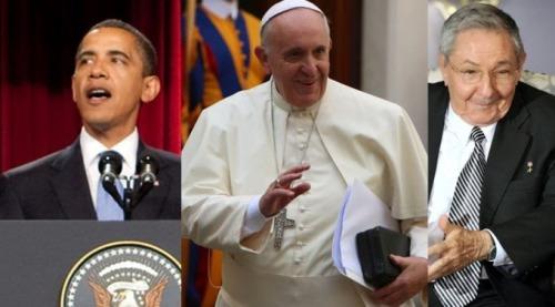 obama y Papa y Raul Castro