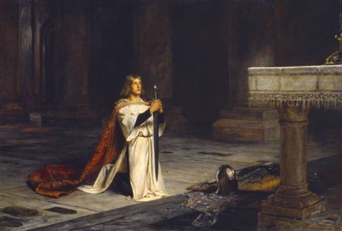 The Vigil exhibited 1884 by John Pettie 1839-1893