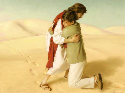 cristo abraza a un joven