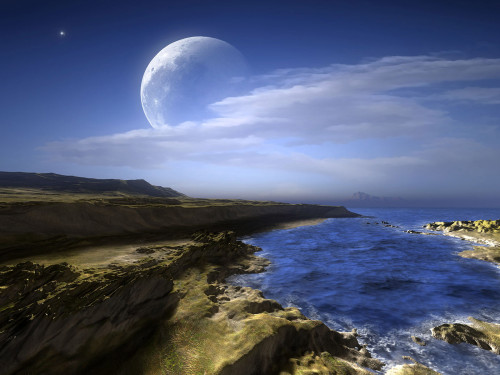 paisaje con luna de dia