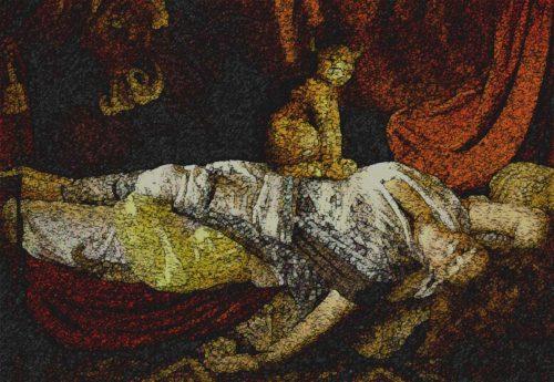 mujer durmiendo con demonio arriba