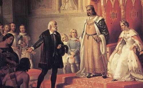 cristobal colon ante el rey y la reina de españa