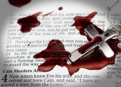 cruz con sangre