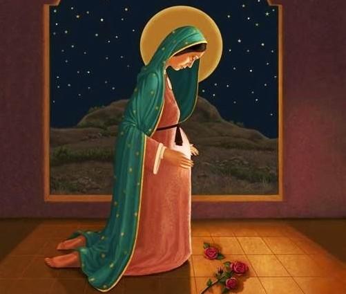 virgen maria encinta dibujo