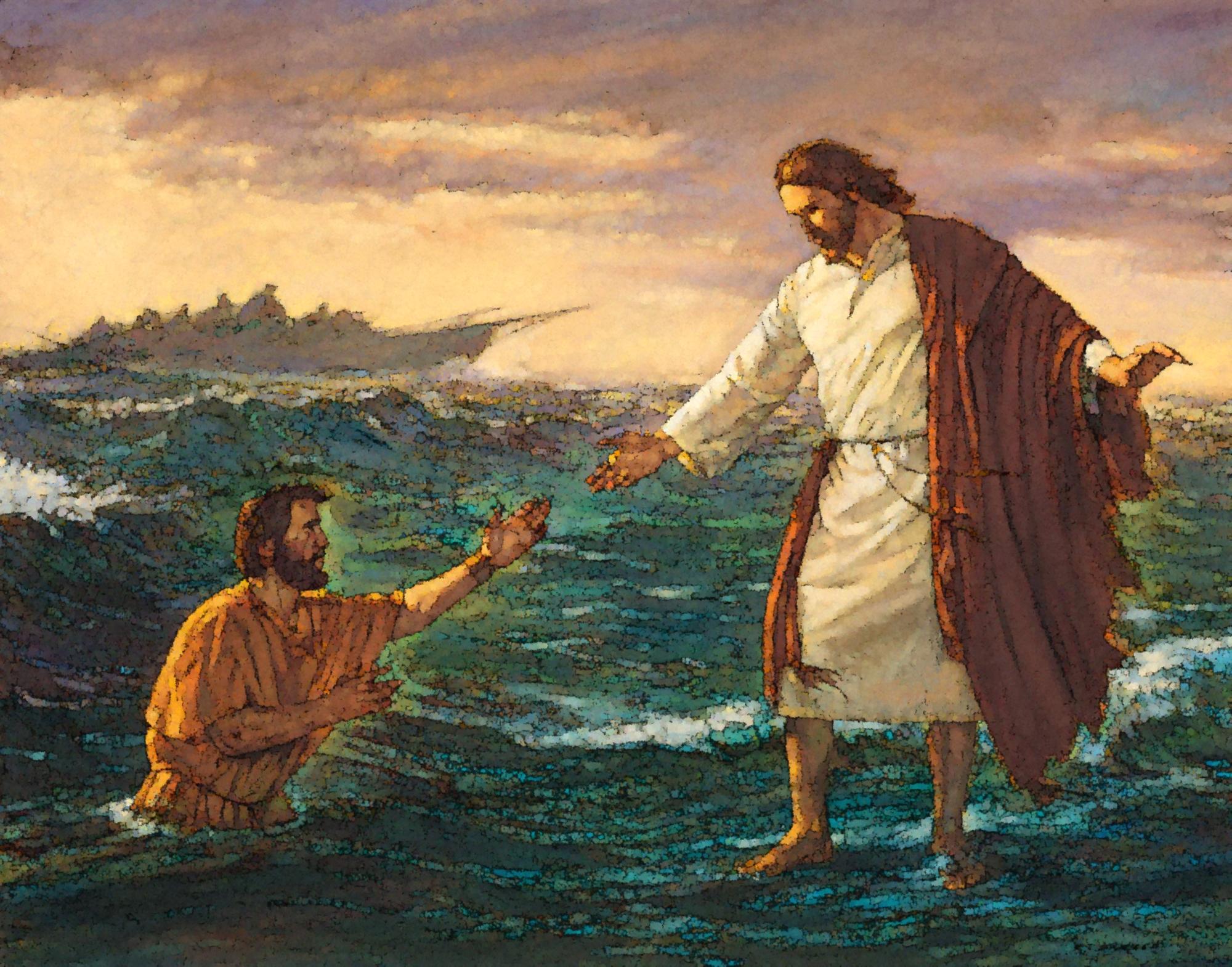 jesus camina por el agua