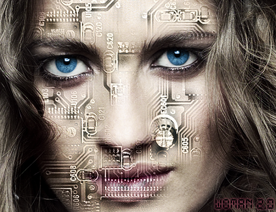 cara con circuitos chips