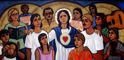 virgen maria con su pueblo dibujo teologia de la liberacion