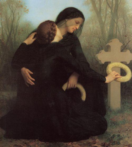 dos mujeres ante una tumba purgatorio