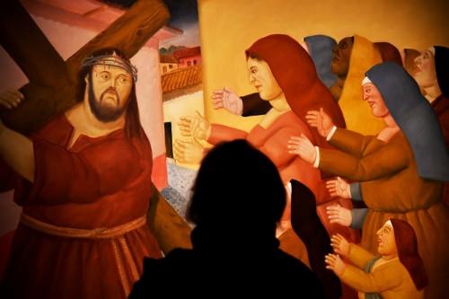 jesus lleva la cruz botero fondo