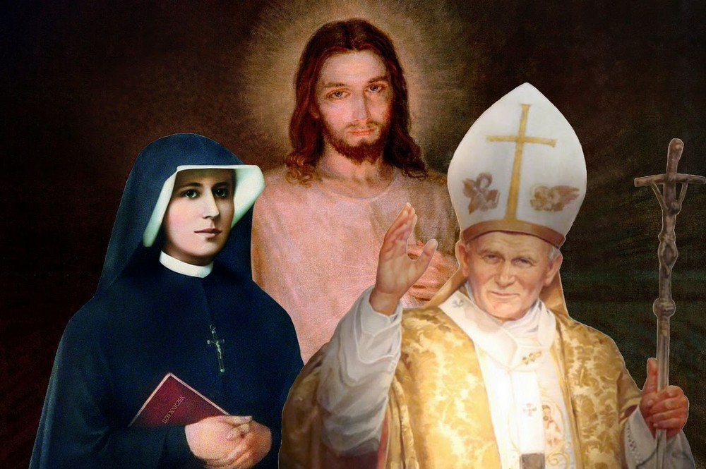 Pope John Paul with Jesus and Faustina