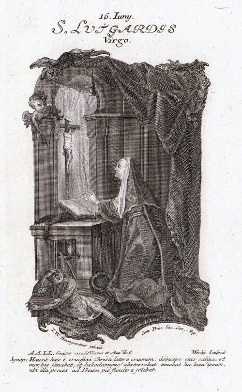 estampita de santa lutgarde orando