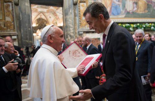 papa francisco y el principe felipe vi de españa