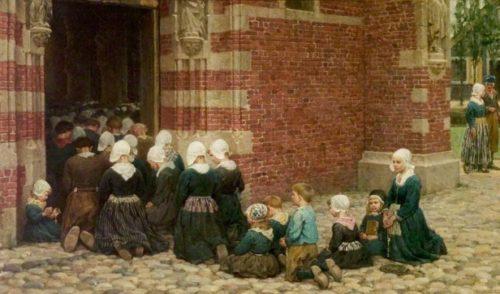 George Clausen la misa mayor en un pueblo en la Zuiderzee