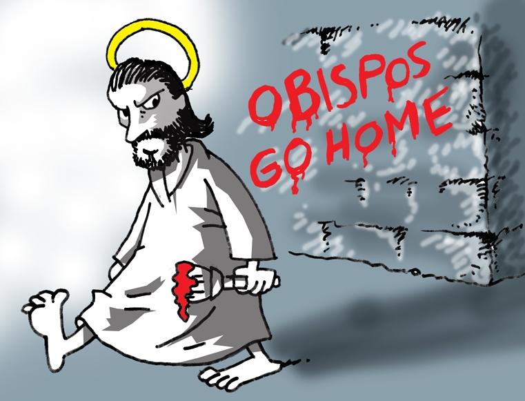 caricatura obispos go home