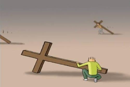 dibujo cargando la cruz