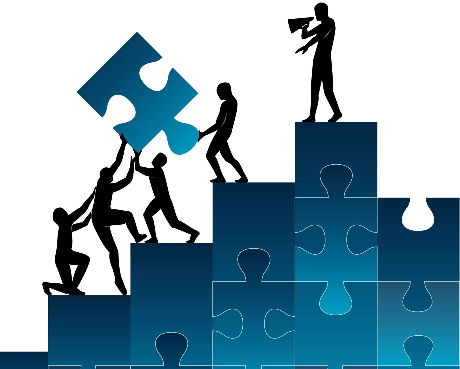 puzzle de hombres construyendo y cooperando