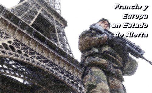 soldados franceses patrullando la torres Eiffel