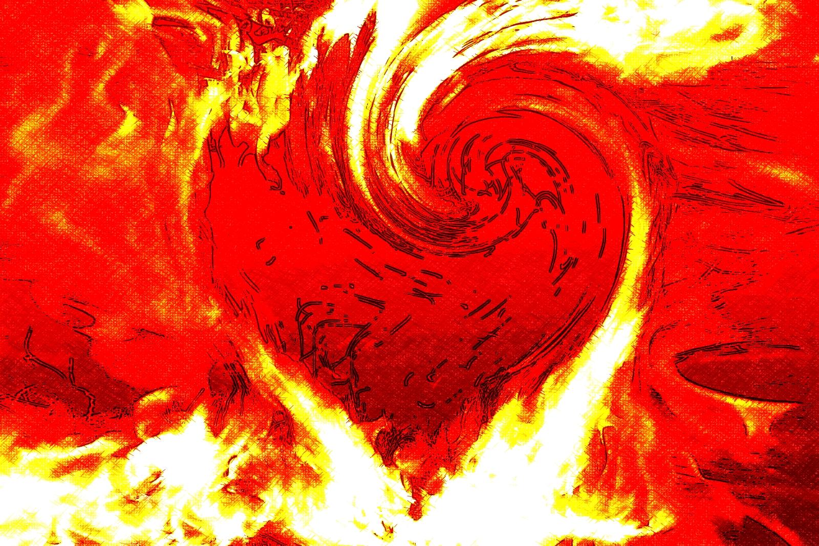 corazón en un remolino de fuego