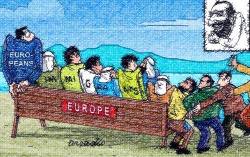 dibujo de inmigrantes y europeos en un banco