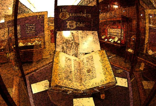 foto de la biblia de gutemberg de una biblioteca americana