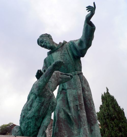 estatua de san francisco y el lobo de gubbio